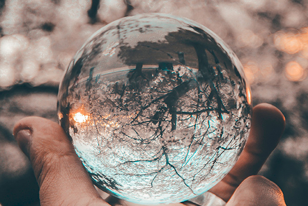 Glass sphere.