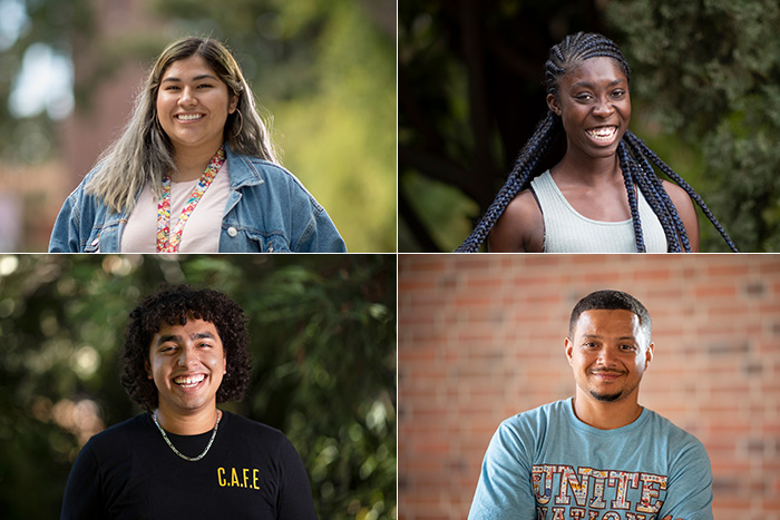 a grid of four images that are portraits of faces that represent campus students of color