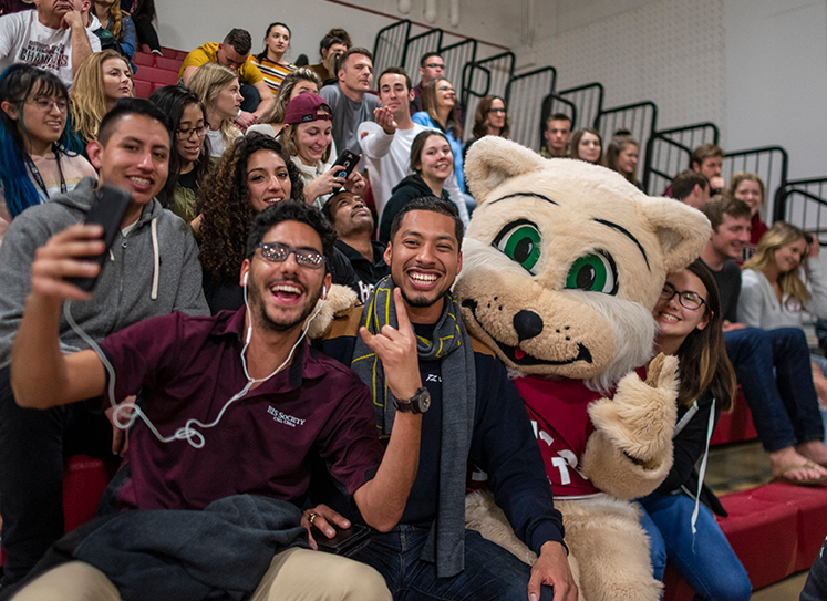 cheering students sit with mascot at basketball game.