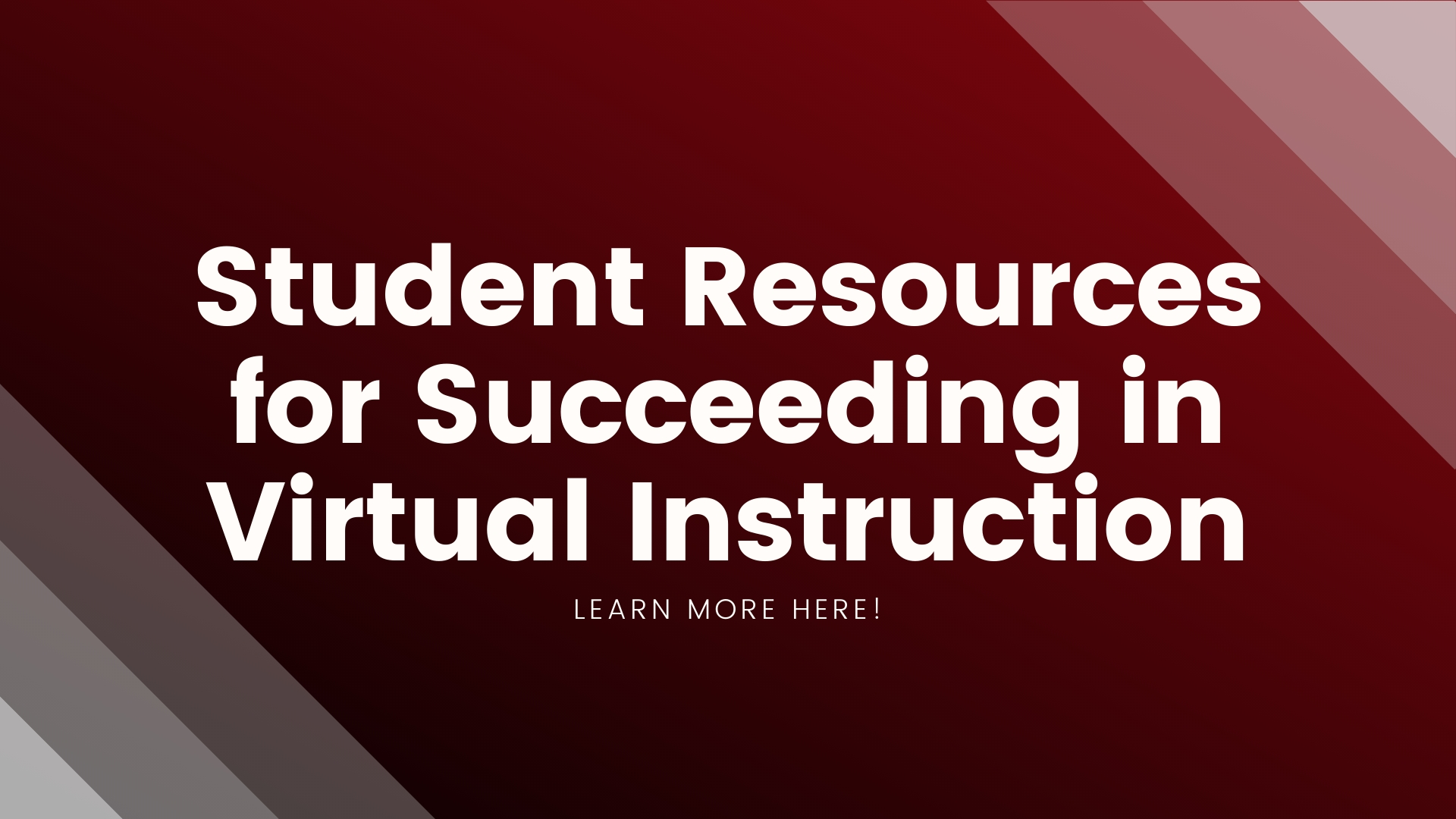 Graphic button leading students to resources for virtual instruction