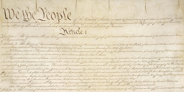 "The United State's Constitution, which begins ""We the People"""
