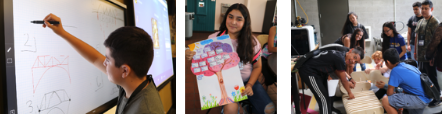 Pictured left: ETS student designing a bridge in the Engineering class  Pictured center: ETS student sharing family tree from Embracing Your Roots class Pictured right: ETS students putting together a puzzle that becomes a functioning bench made in the MakerSpace lab