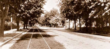 Railroad tracks through old campus