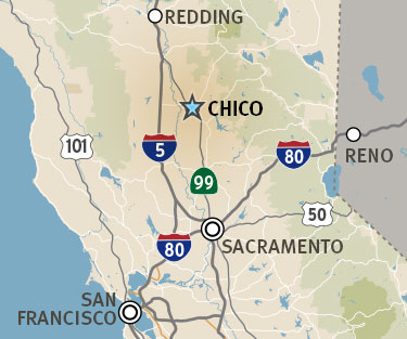 Map of California showing where Chico is located
