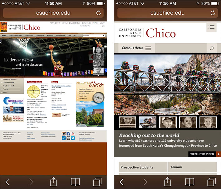 Comparison of new homepage mobile responsive view with old site