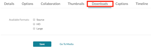 Download tab to select which format users can download.
