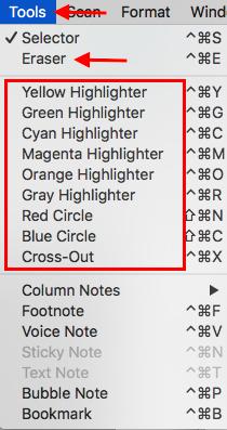 Under Tools menu, look for Eraser