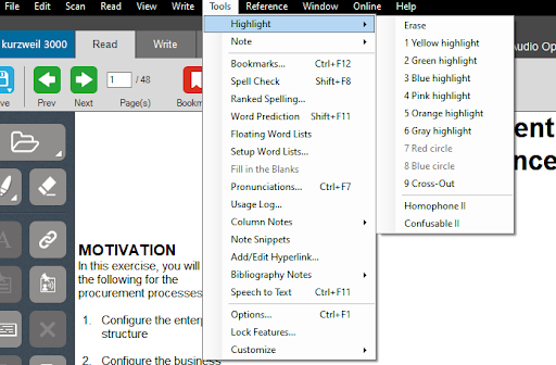 """Highlight"" setting, under ""Tools"" tab"