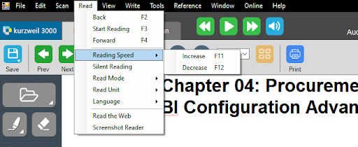 """Under """"Read"""" tab, selecting """"Reading Speed"""""""