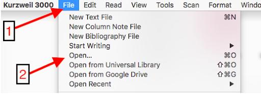 """File"" tab, then ""Open"""