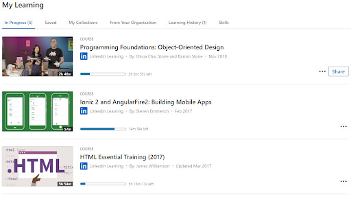 "Linkedin Learning ""My Learning"""