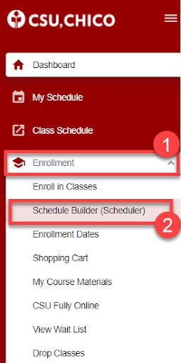Schedule builder tab