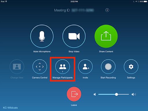 Zoom manage participants button