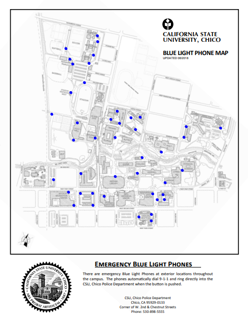 Blue Light Phones – University Police – CSU, Chico on cal state san marcos campus map, chico state forms, chico state buildings, chico state mascot, chico state mission statement, cal state san bernardino campus map, chico state writing center, chico state football, cal state east bay campus map, cal state dominguez hills campus map, chico state tuition, chico state bookstore, western state campus map, chico state university, chico state organization chart, chico state student store, chico state commencement, tarleton state campus map, chico state lassen hall, chico state blackboard,